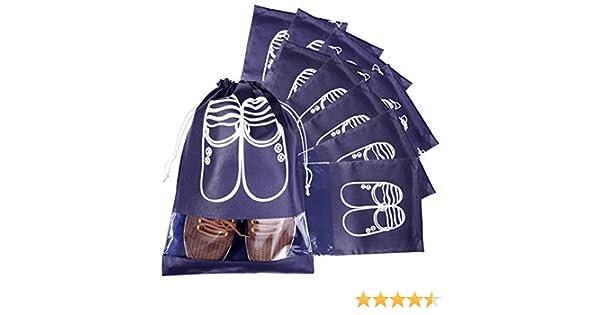 MOOKLIN 10pcs Organiseurs de Bagage Sacs Cadeaux Sacs /à Cordon avec Fen/être Transparente Sacs /à Chaussures de Voyage Bleu Marine, L