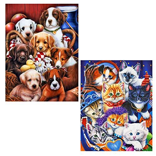 Kit de pintura con diamantes 5D, diseño de gatos y perros con...