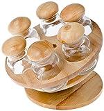 Home Gewürzebehälter, Holz/Glas, Braun