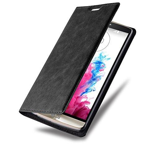 LG G3 Hülle in SCHWARZ von Cadorabo - Handyhülle mit unsichtbarem Magnetverschluss Standfunktion und Kartenfach Case Cover Schutzhülle Etui Tasche Book Klapp Style in NACHT SCHWARZ