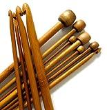 11 Stück 25cm Stärken 3mm - 10mm Tunesische Afghanische Karbonisiert Bambus Häkelnadel Set