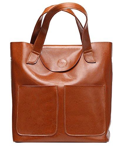 Xinmaoyuan Borse donna borsette in cuoio cera olio Kraft borsa tracolla singola borsetta Brown