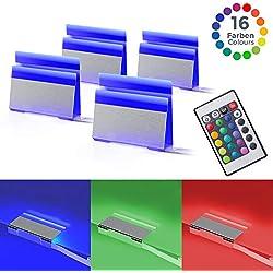 B.K. Licht éclairage vitrine LED, éclairage LED amoire placard, lot de 4 pinces LED, avec télécommande, 4 programmes, 16 couleurs au choix