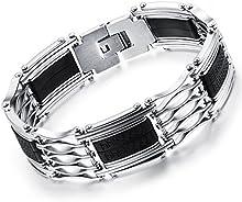 Comprar Ostan - 316L acero inoxidable gótico pulseras de hombres - nueva moda joyería brazaletes, plata y negro