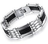 OSTAN - 316L Edelstahl Armbänder für Herren - Neue Mode Schmuck Armschmuck, Silber und Schwarz