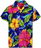Originale King Kameha | Funky Camicia Hawaiana | for Men | XS – 12 x L | Maniche Corte | Front-Pocket | Hawaiian-Print | Grande Fiore Estate | Blu Blue Large