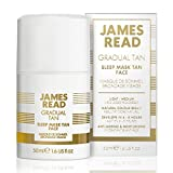 JAMES READ Sleep Mask Tan for Face 50ml LIGHT/MEDIUM Overnight Gradual Self-Tanning Gel Mask; Fast Drying, Develops in 6-8 Hours & Lasts up to 7 Days, Suitable for all Skin Tones
