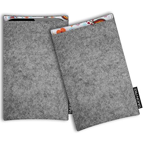 SIMON PIKE Honor 6A Filztasche Case Hülle 'Boston' in grau 10, passgenau maßgefertigte Filz Schutzhülle aus echtem Natur Wollfilz, dünne Tasche im schlanken Slim Fit Design für das 6A (Boston Bag Elegante)
