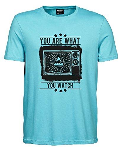 makato Herren T-Shirt Luxury Tee Television Aqua