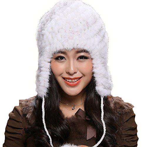 ONEWORLD High Quality Man-made Mink Fur Jacquard Knit Hat Classic