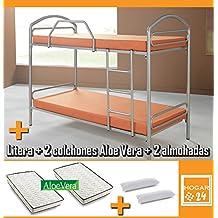 Litera metálica con somieres + 2 colchones Aloe Vera + 2 almohadas de fibra de regalo-90x190cm
