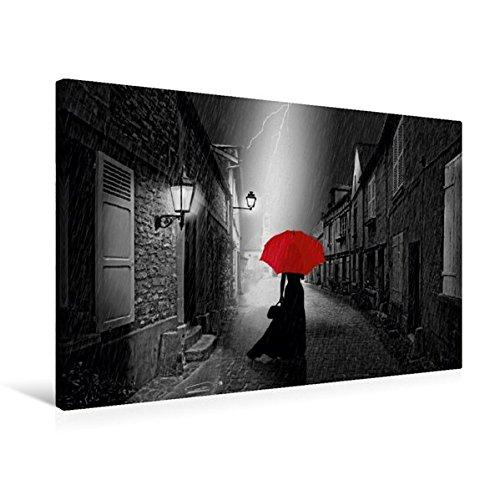 and 75 cm x 50 cm quer, Die Frau mit dem roten Regenschirm | Wandbild, Bild auf Keilrahmen, Fertigbild auf echter Leinwand, Leinwanddruck (CALVENDO Menschen) (Frau Bild)