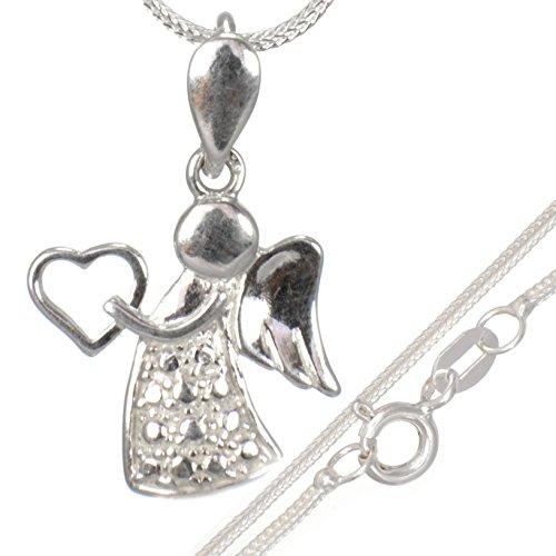 Taufschmuck-Set:Herz mit Schutzengel Anhänger mit 40 cm Schlangen-kette aus 925 Silber#557