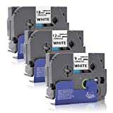 Labelwell Ersatz Brother TZe221 TZe231 TZe241 Schriftband für Brother PTouch D400 H100LB E100VP H105WB D400VP D200BW H105 P700 D600VP, 9mm/12mm/18mm x 8m,Schwarz/Weiß