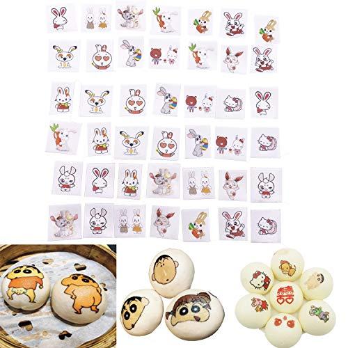 Essbares Reis-Oblatenpapier, Cartoon-Lächeln, niedliches Emoji-Motiv, für Kinder, Baby-Frühstück White Rabbit(42pcs)