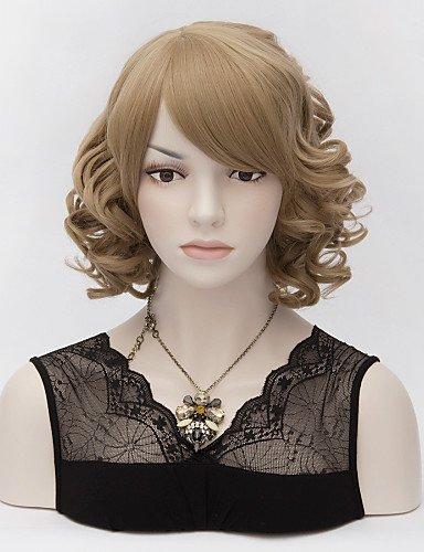 Fashion wigstyle Office Lady Hot Fashion Perücke neue Charm Damen Kurz Flaxen Braun Karneval Halloween Curl Natürliche Haar Full Perücken auf Verkauf billige (Verkauf Halloween Perücken)