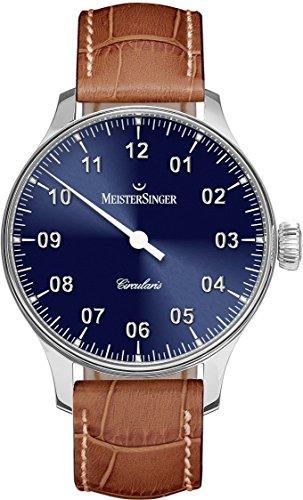 Meistersinger Circularis CC308 - Reloj mecánico Manual de Viento para Hombre, Esfera Azul analógica de 43 mm con Cristal de Zafiro