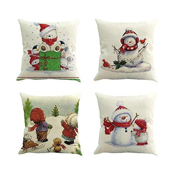 Pingrog Ears Christmas Ornaments Home Decor Xmas Einfacher Stil Decor 4Pc Weihnachten Kissenbezug Dekokissen Baumwolle Leinen Sofa Car Home Taillen Kissenbezug Dekokissen Fall