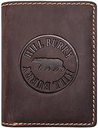 Hill Burry Cartera de Cuero para Hombre | Billetera - Monedero de Cuero Genuino de Búfalo | Hombres - Mujeres Bolsillo Vertical | RFID