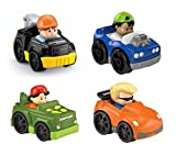 Little People Fisher Price Wheelies Push Cars Set of 4 With Koby & Eddie, Tow Truck - S3