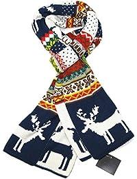 Lovarzi - Bufanda de invierno para mujeres y hombres - bufandas de navidad renos copo de nieve