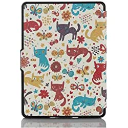 Kindle Paperwhite case. Premium SmartShell Lightest Thinnest Protective PU Leather Case with (Auto Wake/Sleep) Folio Flip Case Flip Cover for Amazon Kindle Paperwhite 2012 , 2013 , 2014 and 2015 New 300 PPI Flip Cover Flip Case (Cute Cats)