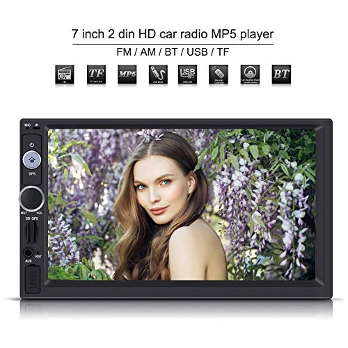 Elerose Car MP5 multimedia player, 7 inch 2 DIN HD touch screen GPS navigation stereo radio FM/USB / AUX