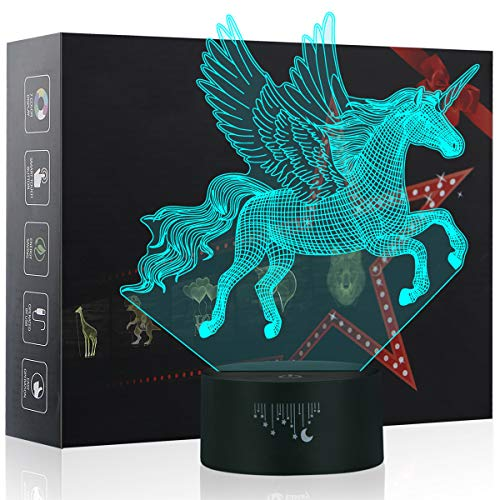 Unicornio Lámpara, Luz nocturna 3D, Lampara LED niños