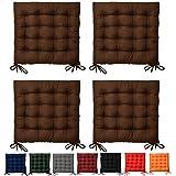 Beautissu Set da 4 cuscini da sedia trapuntati Lea 40x40x5cm - marrone - decorativi - per casa o giardino - con lacci