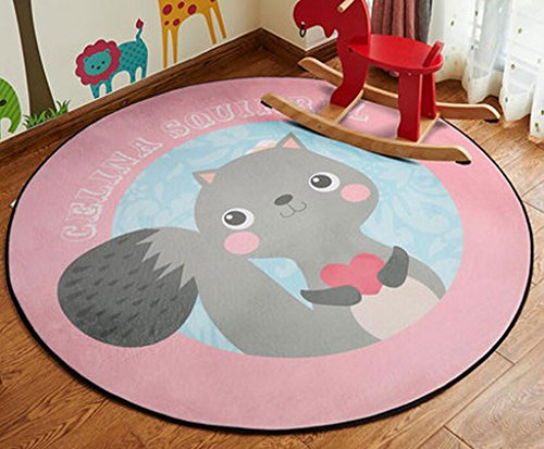 FLH Round Kids' Room Rug,Lego Toys Storage Organizer Bag,Large Cotton Anti-slip Cartoon Animal Children's Floor Play Game Mat with Drawstring for Kids Room Doormats ( Color : A , Size : 120CM )