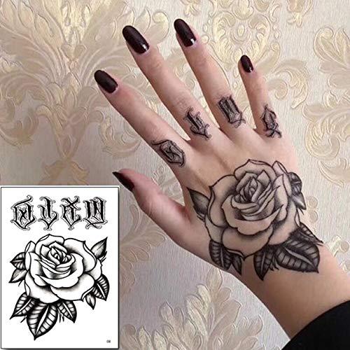 10 Teile/Paket temporäre Tattoo Aufkleber Set Hand Rose Tattoo Schwarze Blume Mehndi Aufkleber für Hand Zombie Tattoos männer Jungen großhandel