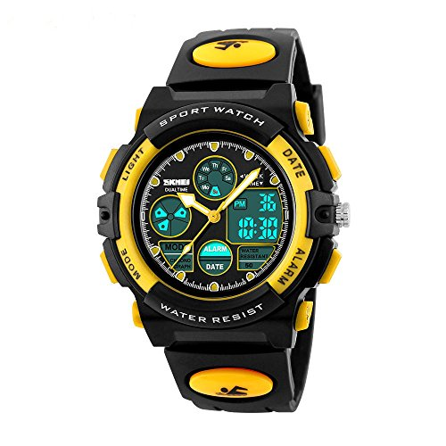 Uhren, Kinderuhren, Teenageruhren, Digitaluhren, Outdoor- und wasserdichte elektronische Uhren, digitale Displays für Jugendliche und Kinder, Uhren mit LED-Leuchten (gelb)