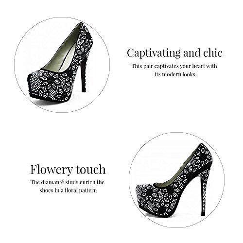 Trend-Stern-Frauen-Absatz-Plattformschuhe verziertes Schädel-Partei-Hochzeits-Diamantgröße 3-8 Style 3 - Champagner