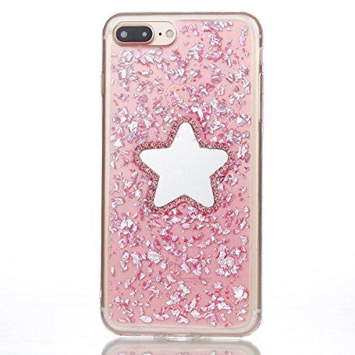 iPhone 7 Plus Hülle Silikon Clear,iPhone 7 Plus Handyhülle Muster,iPhone 7 Plus Hülle Glitzer Pink Ultra Dünn Weiche TPU Gel Silikon Glänzend Glitzer Kristall Stoßdämpfend Transparent Handytasche mit  Glitzer Fünfzackiger Stern