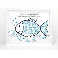 Fingerabdruck Fisch Taufe Geschenk, Tauffisch, Taufe Gästebuch Alternative, Fingerabdruck Baum Taufe 29x42cm Poster