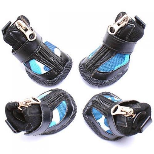 4 Neu Schwarz Leder Hundeschuhe Schuhe Boots Größe 4