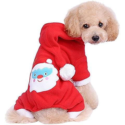 Forepin® Pet Vestito Dal Cucciolo Del Maglietta Costume Natale Inverno Maglione Cappotto Tuta Con Cappuccio Piccolo Animale Domestico Cagnolino (Pantaloni M)