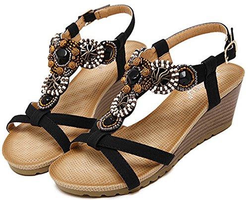 Odema sandali comodi da spiaggia bohemian con tacco a scivolo con perle da donna nero#2