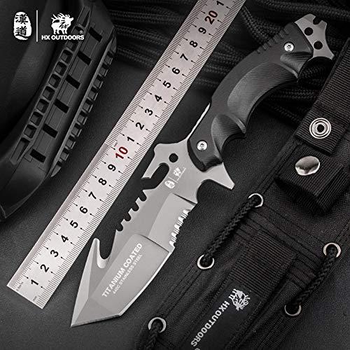 HX OUTDOORS Premium Qualität Überlebensmesser,Companion Messer, Outdoor Survival Messer, Jagdmesser, 440C Edelstahl,Rutschfester G10 Griff