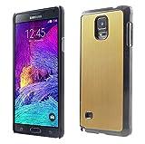 Téléphone Samsung Galaxy Note 4Coque arrière en métal aluminium Or cadre noir + 3FILMS Protecteurs d'écran