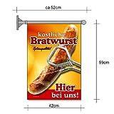 Bandera poster de salchichas Bratwurst para publicidad de Snack A2 Bandera Salchicha Patatas fritas Salchicha al curry Snack