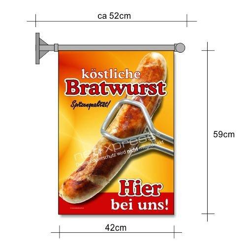 net-xpress Bratwurst-Fahne für Imbiss-Werbung A2 Flagge Wurst Pommes Currywurst Snack