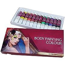 Cara Pintura tintes Set 12colores no tóxico profesional cosmético para el cuerpo humano pintura al óleo pigmento con tres pinceles y paleta para disfraz bola