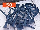 """50 x 12 cm """"SUPER STRONG"""" Ground Cover, Fixing, Securing Anchor, Garden Pegs, Ground Anchor, Securing Pegs, Square Pegs, Ground Pegs - each 12 cm long. Ideal for use: Weed control fabric, Garden, Ground Cover Membrane, Tarpaulins, Nettings.(12 cm Black)"""