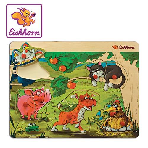 Eichhorn 100005453 Puzzle à emboîter 30 x 22,5 cm avec 8 à 9 Ports, 4 Motifs de la Ferme Disponibles, Pas de Choix de Motifs possibles, livré avec 1 pièce, 100 % Bois de Tilleul certifié FSC