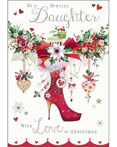 Weihnachtskarte (jj8565) Special Daughter–Weihnachten Schuh Dekoration–Silber geprägt und Flatterndes