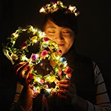 Excellent handmade materials and exquisite workmanship, beautiful flower Garland Headband with LED decor which make you look more charming and eye-catching. It come in pleasant colors matching any dress and occasion,such as bridal, bridesmaids or flo...