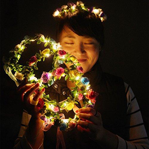 COSOON 4 PC LED Blumen Kranz Stirnband - Kronen Blumengirlande Boho für Festival Hochzeit, Kranz Kopfschmuck mit LED Dekor T013