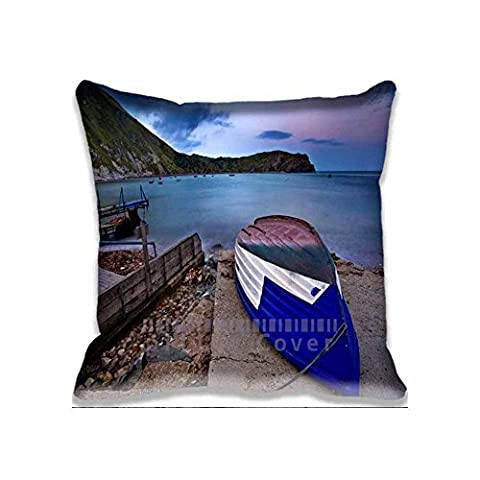 Home Decorative Accent Throw Pillow Cover Blue Fisherman Boat Cushion Case Pillow Sham for Sofa(No Pillow)18x18inch
