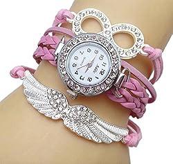 Addic Fashion Angel's Wings Baby Pink Lucky Charm Bracelet Watch for Women! (Wristwatch)